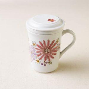 九谷焼三件杯(華ピンク)