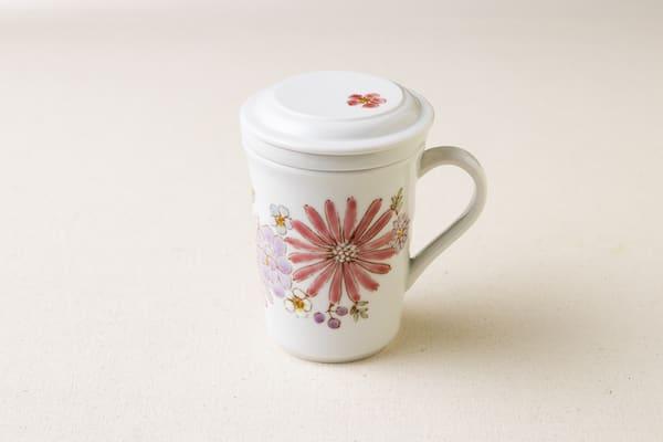 九谷焼三件杯(華ピンク)画像